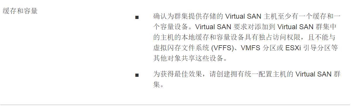 计算机生成了可选文字: 缓 存 和 容 量 0 0 确 认 为 群 集 提 供 存 储 的 Virtual SAN 主 机 至 少 有 一 个 缓 存 和 一 个 容 量 设 备 。 Virtual SAN 要 求 对 添 加 到 Virtual SAN 群 集 中 的 主 机 的 本 地 缓 存 和 容 量 设 备 具 有 独 占 访 问 权 限 , 且 不 能 与 虚 拟 闪 存 文 件 系 统 (VFFS) 、 VMFS 分 区 或 ESXi 引 导 分 区 等 其 他 对 象 共 享 这 些 设 备 。 为 获 得 最 佳 效 果 , 请 创 建 拥 有 统 一 配 置 主 机 的 Virtual SAN 群 集 。