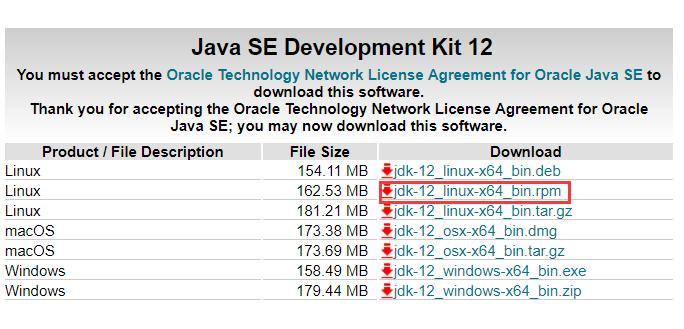 Linux环境安装jdk12-rpm